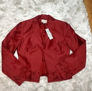 Cache red beaded embroidered blazer